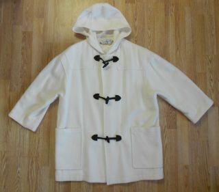 Ashley Scott Winter White Wool Hooded Coat Dk Brown Velvet Toggle