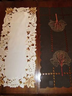 Table Runner Embroidered Cutwork Linen Fall Leaf Autumn Trees