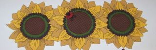 Fall Thanksgiving Centerpiece Table Runner Leaves Pumpkins Sunflowers