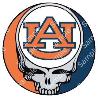 AUBURN TIGERS / GRATEFUL DEAD STEAL YOUR FACE 3 ROUND VINYL DECAL