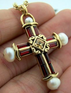 Ava Maria Madonna Mother Mary Gold P Ruby Pearl 1 75 Cross Necklace