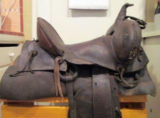 Askew 1900s Antique Swell Fork Western Stock Saddle Iron Stirrups
