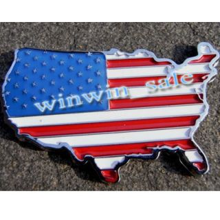 US National Flag Car Decor 3D Decal Emblem 3M Metal Car Sticker