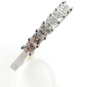1ctw 9 Stones Asscher Cut Diamond Half Eternity Wedding Band 14kt Gold