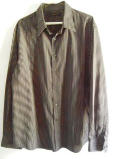 Mens Axist Long Sleeve Black Grey Pinstriped Dress Casual Shirt Size