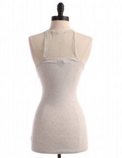 Outfitters Lace Trim Ribbed Tank Top Sz L Grey Athletic Wear