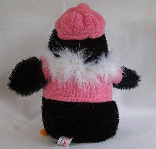 Aurora World Penguin Pink Sweater Stuffed Plush Doll Toy