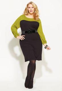 Avenue Plus Size Colorblock Sweater Dress