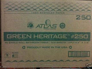 ATLAS GREEN GERITAGE 2 PLY 96 ROLL TOILET TISSUE PAPER BOX BRAND NEW