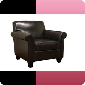 Atticus Black Brown Faux Leather Modern Club Chair