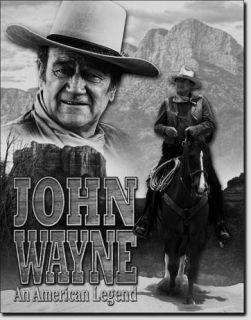 John Wayne b w TIN SIGN vtg western cowboy bar wall decor metal poster
