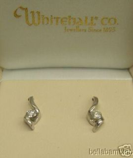 14K WHITE GOLD DIAMOND DANGLE EARRINGS .40 CARATS
