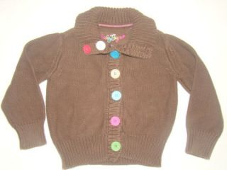 Baby Gap Chocolate Brown Rainbow Colorful Button Cardigan Sweater