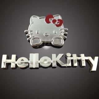 New Car Decor 3D Decal Emblem Metal Hello Kitty with Letter Auto Car