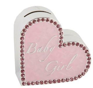 Baby Girl Pink Heart Silver Plated Money Box BNIB