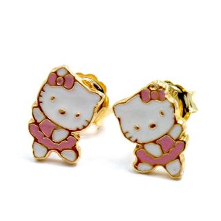 Gold 18k GF Earrings Pink Cute Hello Kitty Ballerina Girl Baby Kids