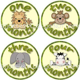 Monthly Baby Onesie Stickers Girl Boy Zoo Jungle Animal