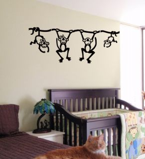 Funny Monkey Kids Wall Art Sticker Baby Room Nursery 23