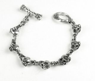 King Queen Baby Studio Small Skull Bracelet w Rose Showroom Sale Q42