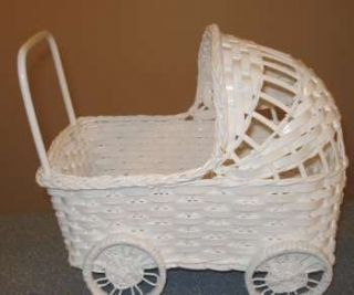 Wicker Baby Carriage White for Baby Shower Decorations