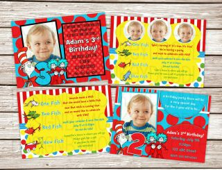 Dr Seuss Birthday Baby Shower Invitations Printed w Envelopes 4 Styles
