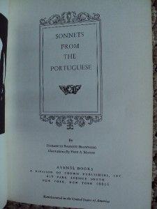 from A Portuguese by Elizabeth Barrett Browning Avenel Books