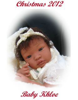 Realistic Ethnic Biracial AA Baby girl doll OOAK Wavy Human hair