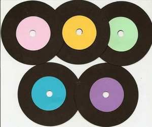 45s Records Rock and Roll Scrapbook Die Cuts Set of 5