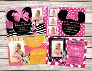 Minnie Mouse Birthday Party Invitations Printed w Envelopes 4 Styles