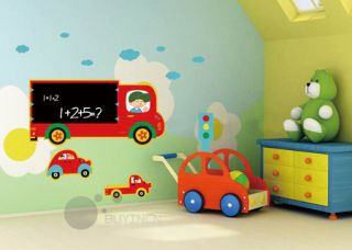 Transport Blackboard Boy Girl Kids Wall Stickers Children Wallpaper