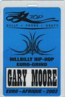 Top Gary Moore 2002 Euro Afrique Tour Laminated Backstage Pass