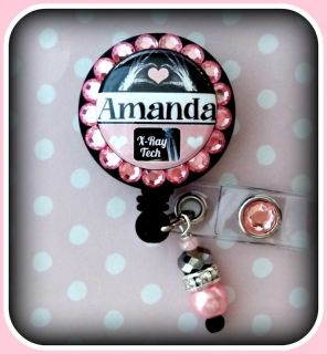 RAY TECH CUSTOM NAME RETRACTABLE ID REEL BLING BADGE HOLDER with charm