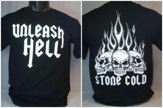 Stone Cold Steve Austin Unleash Hell Skull T Shirt New