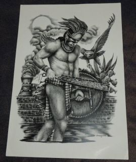 Aztec Warrior Mexican Chicano Tattoo Art Flash Pattern 12 w x 16 L
