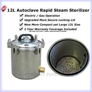 12L Portable Autoclave Steam Sterilizer Tattoo Dental
