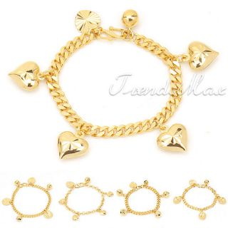 Baby Chain 18K Gold Filled Bell Charm Bracelet New GF Jewelry