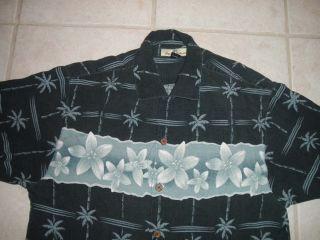 Tommy Bahama Mens Hawaiian Shirt Small 100 Silk Navy Blue Button Down