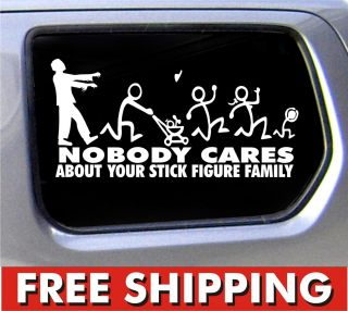 Family Nobody Cares Truck Funny Stickers Car Decal Bumper