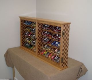 20 Car Banked NASCAR Diecast Display Case Cabinet Checkered Flag