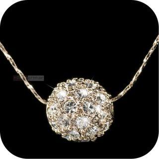 18k rose gold genuine uz SWAROVSKI crystal ball pendant necklace