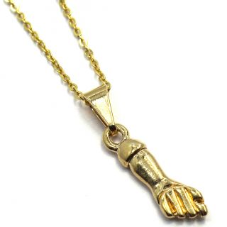 Gold 18k GF FIGA HAND Pendant Amulet Good Luck Charm & Chain Necklace