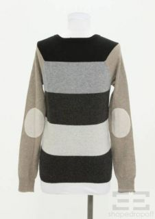 Autumn Cashmere Gray & Beige Striped Cashmere Cardigan Sweater Size