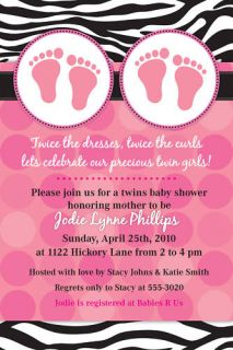 Twin Zebra Dots Custom Baby Shower Invitations