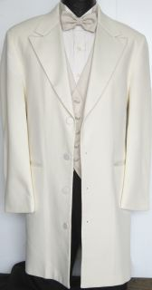 Ivory / Off White 4 Button Avalon Tuxedo Dinner Jacket Frock Coat
