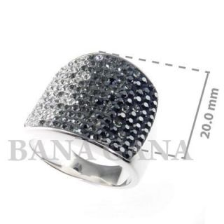 Bana Gana Sterling Silver Ring Black White Swarovski Crystal Size 8