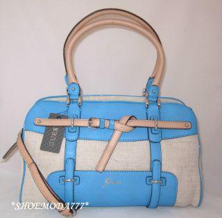 Guess Avera Canvas Bel Box Sachel Shoulder Bag Purse Handbag Blue