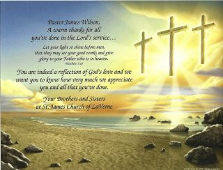 Three Crosses Personalized Pastors Appreciation Print