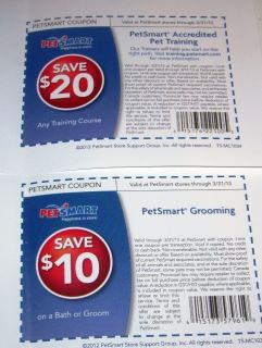 Petsmart Grooming Pet Training Coupons Good until 03 31 2013
