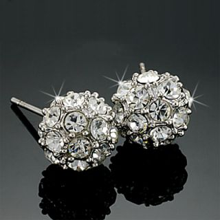 Gold GP Round Cut Lab Diamond Magic Pave Ball Stud Earrings