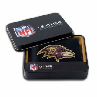 Baltimore Ravens Embroidered Bifold Genuine Leather Wallet + FREE Gift